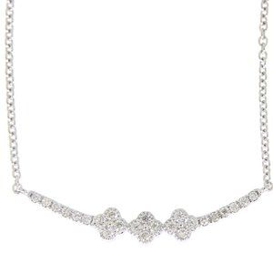 Round Cut Diamond Clover Bar Necklace White Gold